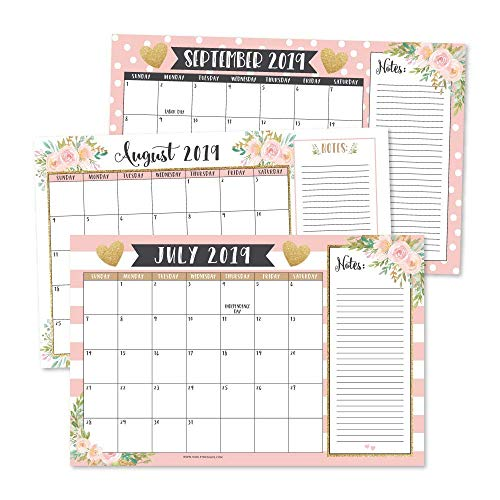 """Gold Pink Chalk 2019-2020 Large Monthly Desk or Wall Calendar Planner, Floral Giant Planning Blotter Pad, 18 Month Academic Desktop, Hanging 2-Year Date Notepad Teacher, Family Business Office 11x17"""""""