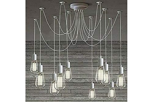 Lampadario 12 pendenti ragno bianco industriale sospeso vintage soffitto E27 moderno design