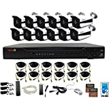 REVO America AeroHD 16Ch. 5MP DVR, 2TB HDD Video Security System, 12 x 5 MP IR Bullet Cameras Indoor/Outdoor - Remote Access via Smart Phone, Tablet, PC & MAC, White (RA163B12I-2T)