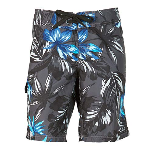 Kanu Surf Damen UPF 50+ Active Printed Swim and Workout Board Short Boardshorts, Hayley Charcoal, 40