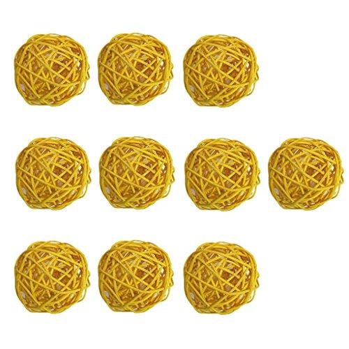 Fenteer 10pcs Boule Décoratives Rotin Boule - Jaune