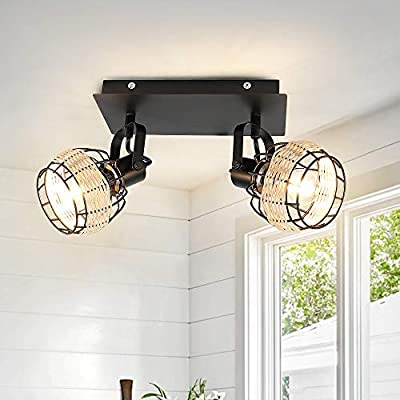 Modern Led Track Lighting Fixtures, DLLT 2-Head Adjustable Track Wall Spotlight, Semi Flush Mount Ceiling Light with Hollow Design for Living Room, Home Kitchen, Office, E12 Base (Bulbs Not Included)