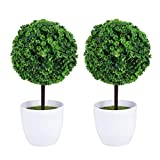 Wakauto 2PCS Artificial Boxwood Balls Outdoor with Planter,Artificial Boxwood Topiary Trees Leaf Topiary Ball 23cm Realistic Fake Plant for Home Garden Office Desk Shower Room Decoration Green