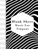 blank sheet music for timpani: music manuscript paper, clefs notebook, blank sheet music compositio, composition notebook, black wave stripe ... music sketchbook, composition book gift