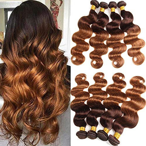 ELEE'S HAIR Ombre Brazilian Hair Bundles Body Wave Ombre Body Wave 4 Bundles Ombre Hair Bundles Body Wave Ombre Human Hair Bundles Ombre Bundles Brown