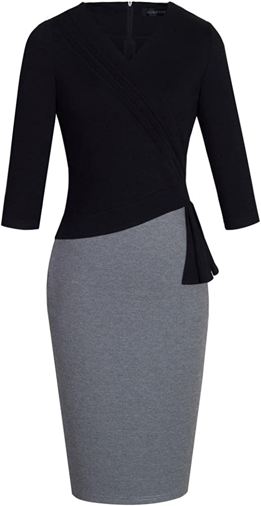 HOMEYEE Women's Elegant Patchwork 3/4 Sleeve Wear to Work Bodycon Dress B333