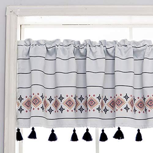 YoKii Boho Tassels Valances for Window 52''W x 18''L Room Darkening Dark Grey Stripes Geometric Printed in Greyish Tribal Kitchen Curtain Valance Window Treatments Room Decors (W52 x L18, Grey)