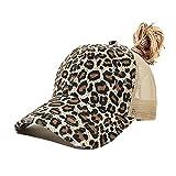 Criss Cross Ponytail Baseball Cap for Womens Men Adjustable Dad Trucker Mesh Hat Brown Leopard