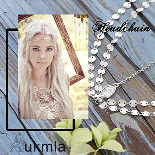 Aukmla Silver Headdress Boho Headchain Double Layer Sequin Head Chain with Crystal Dainty Hair Jewelry Accessory for Women and Girls 7
