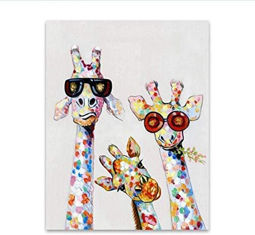 QWEWQE Cuadro decorativo, divertido lienzo de animales de dibujos animados de jirafa, póster decorativo para habitación infantil, salón, decoración del hogar (A,60 x 90 cm)