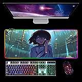 Alfombrilla De Ratón Grande Anime Tu Nombre Alfombrilla De Ratón RGB XXL Alfombrilla De Ordenador con Retroiluminación Led Alfombrilla De Ratón para Teclado De Ordenador para Csgo Gamer B 900X400Mm