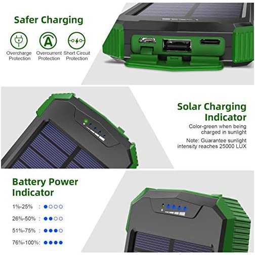 Solar Charger, 10000mAh Solar Power Bank, Qi Wireless Charger, Portable Charger for iPhone, External Battery Pack, Dual… 4