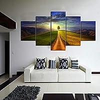WLHBH アートパネル 5枚 木と大草原の風景インテリア アートポスター壁掛け絵画リビングおしゃれキャンバス絵画ぽすたーインテリア風景飾り木枠(D101)