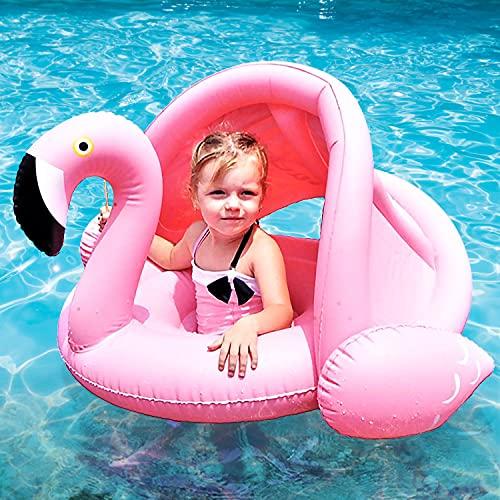 Faffooz Flamenco Flotador de Natación para Bebés, Flamenco Seguridad bebé niños Hinchable natación Agua Flotador Anillo de natación con toldo Ajustable Parasol uguetes Flotantes(Rosa)