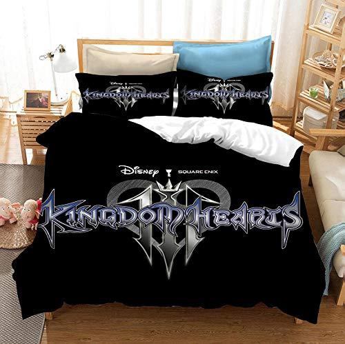 SixyeLiuzhi Funda nórdica 3D Kingdom Hearts Soft, Cama Doble, King Size, Juego de Cama, Textiles para el hogar,180x210cm(3piezas)