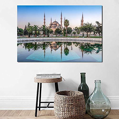 Istanbul Blaue Stadt Landschaft Leinwand Malerei Drucken Schlafzimmer Sofa Dekoration Wandkunst Ölgemälde Poster Bild (Kein rahmen) 60x90 CM