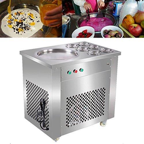 BuoQua Einzeln Pfanne Eismaschine Selbstkühlend 740W Eiscreme Maschine mit Kompressor Edelstahl Icemaker mit Sechs Fässer