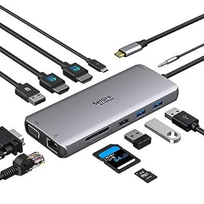 USB C Docking Station, 4K 60Hz Dual HDMI Adapter Triplp Display 12 in 1 USB C Hub Multiport Type C Adapter SD/TF Card Reader USB 3.0 Daul HDMI+VGA Splitter PD Charging for MacBook Pro/Air Chromebook