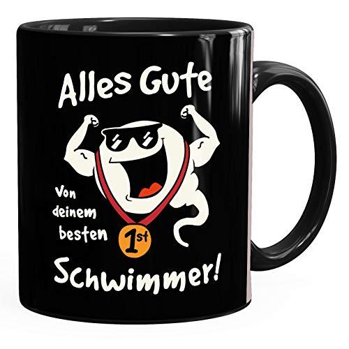 MoonWorks® Kaffee-Tasse Alles Gute von deinem besten Schwimmer Geschenk Papa Vatertag Geburtstag lustige Kaffeebecher schwarz Keramik-Tasse