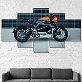 IMXBTQA Cuadros Decor Salon Modernos 5 Piezas Lienzo Grandes XXL Murales Pared Hogar Pasillo Decor Arte Pared Abstracto Bicicleta Eléctrica Harley-Davison Livewire HD Impresión Foto 150X80Cm Regalo