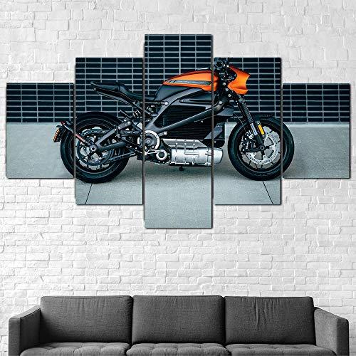 ZHRMGHG Impresiones sobre Lienzo Moderno HD Impreso Pintura Lienzo Decoración para El Hogar 5 Piezas Bicicleta Eléctrica Harley-Davison Livewire Poster Wall Art Picture