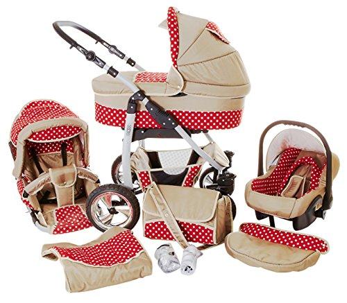 Chilly Kids Dino 3 in 1 Kinderwagen Set (Autosit & Adapter, Regenschutz, Moskitonetz, Schwenkräder) 36 Beige & Rot & Weiße Punkte