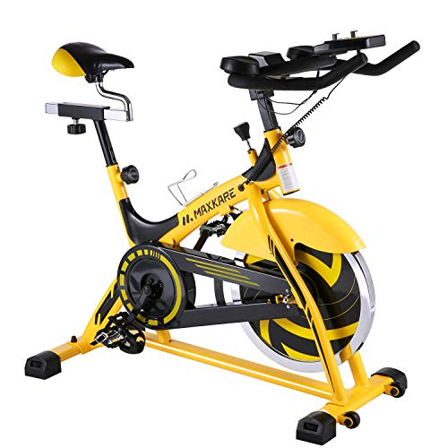 MaxKare Stationary Bike Belt Drive Indoor Cycling...