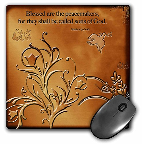 """3dRose LLC 8 x 8 x 0.25 Inches Mouse Pad,""""Blessed are The Peacemakers"""" Floral with Dove and Butterflies on Copper Background (mp_37588_1)"""