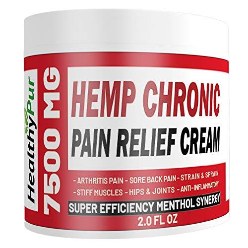 HealthyPur Hemp Cream for Pain Relief 7500 MG Best Hemp MSM Arnica Menthol Vitamin C,B,E Aloe Ginger Tea Tree Eucalyptus. for Knee Hips Joints Back Hand Foot Muscle Sciatica Chronic Pain Relief.