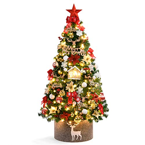 KAUTO Artificial Christmas Tree with Ornaments and Lights,Red Gold Christmas Decorations Including Luxury Full Tree,Ornaments,Led String Lights