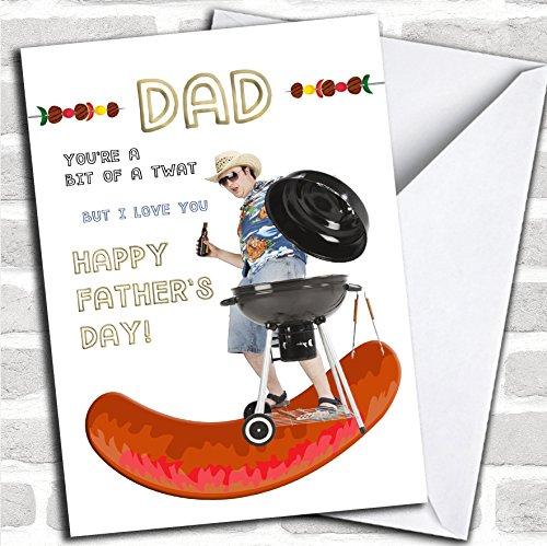 Grappige BBQ Papa bier aangepaste Vaderdag kaart - wenskaart met envelop, kan volledig worden gepersonaliseerd, snel en gratis verzonden