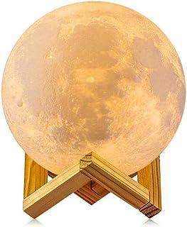 Lámpara de Luna, GDREAMT 16 Colores 15cm 3D Lampara Luna/Control Remoto & Tactil/Función de Temporizador/Carga Universal USB/Regulable Lámpara de Noche 5.9
