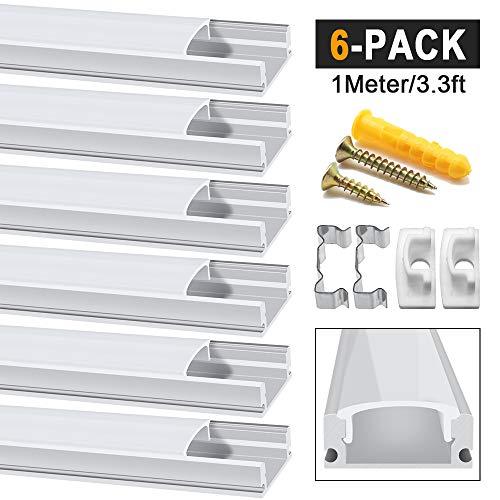 Chesbung LED Aluminium Profil 1m, 6er Pack in U-Form für LED-Strips/Band bis 12 mm) inkl. Abdeckungen in milchig-weiß, Endkappen, und Montagematerial