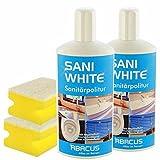 SANI WHITE SET-01 (7013) - 2x 500 ml SANI WHITE Sanitärpolitur + 2x Haushaltsschwamm - Sanitärreiniger Badreiniger Sanitär Toilettenreiniger Politur Waschbeckenreiniger Badewannenreiniger - ABACUS