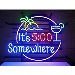 LDGJ 500 5:00 Clock 5 Some Where Neon Signs Man cave Home Beer Bar Pub Recreation Room Game Lights Windows Glass Wall Party Birthday Bedroom Bedside Table Decoration Gifts (Not LED)