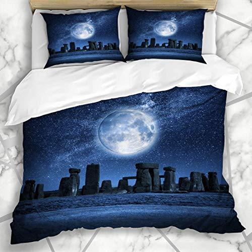 Set copripiumino notte Druid Stonehenge luna piena cultura pagano Inghilterra inglese illuminato design microfibra biancheria da letto con 2 federe