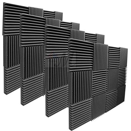 Mybecca 2' X 12' X 12' Acoustic Panels Studio Foam Wedges, 48 Pack - Color: Charcoal