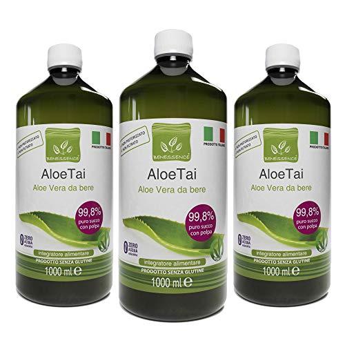 Jugo y pulpa de Aloe Vera para beber, sin pasteurizar y sin filtrar - Hecho en Italia a partir de nuestros cultivos - 3 x 1 Lt