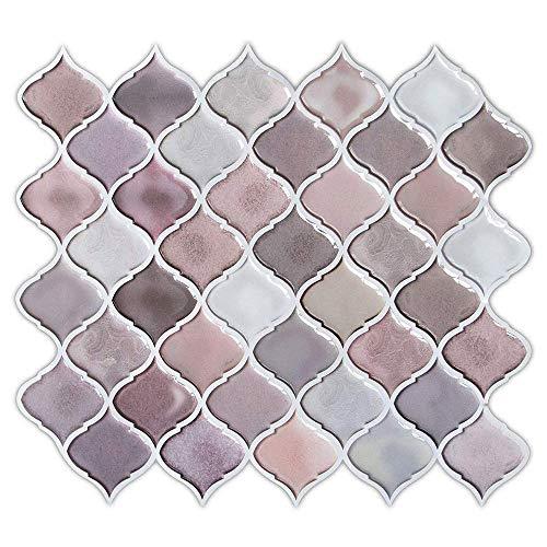 FAM STICKTILES Pegatinas de Baldosas, 3D Auto-Adhesivo Pegatina de Pared Revestimiento Border Decorativo Impermeable Pegatinas de Azulejos para Cocina y Baño 11'x 10' (A12-5 Piezas)