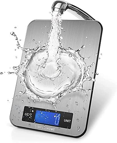 SimpleHome Balance Cuisine Electronique avec écran LCD en acier inoxydable,15 kg/33lbs,Balance numérique de Cuisine de Haute Précision,Argent(2*batteries AAA incluses)