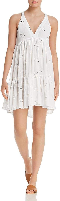 Muche et Muchette Womens Embroidered VNeck Babydoll Dress