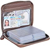 Yuhan Pretty Credit Card Holder Wallet Large Leather Passport Case 42 Card Slots (Carbon Fiber Leather - Coffee)