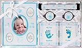 Set de 5 piezas para regalo de bautizo de bebé, diseño de huella de huellas dactilares, unisex, color a elegir azul