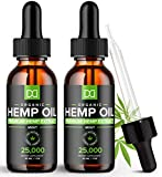 (2 Pack) 25000MG Hemp Oil for Pain Relief Anxiety Sleep Mood Stress 50,000mg Total - Aceite de Cáñamo, l'huile de chanvre, Immune Support - Best Pure Natural Organic Hemp Seed Extract Tincture Drops
