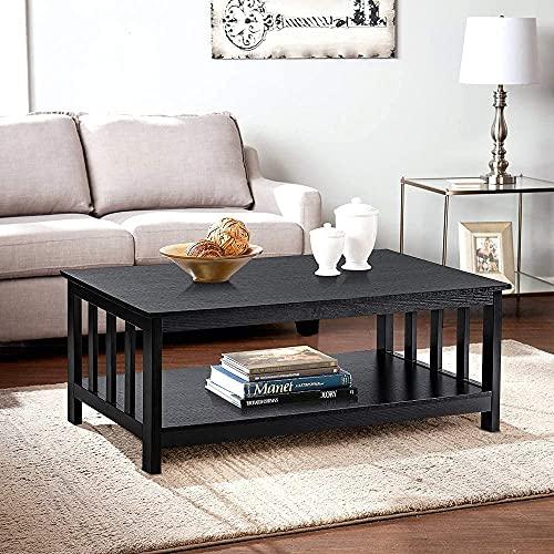 ChooChoo Coffee Table, Mission Coffee Table with Storage Shelf, for Living Room, 40 Inch, Black