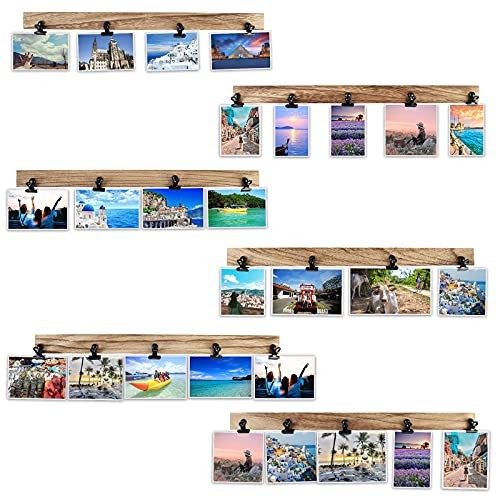 Aiyome 6 Wooden Wall Hanging Photo Frames With 27 Clips, Decorative Collage Picture Frame, No Drilling Required, Adhesive Stickers, Easy to Install, Carbonized Brown