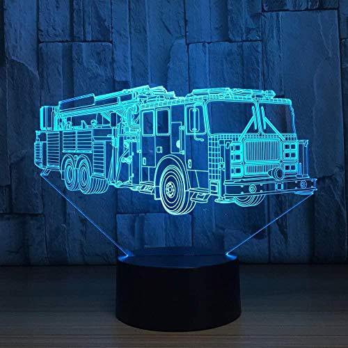 Coche de bomberos en 3D, camión, camión, lámpara de ilusión óptica, 7 colores, interruptor táctil, ilusión nocturna, para dormitorio, decoración, boda, cumpleaños, día de San Valentín