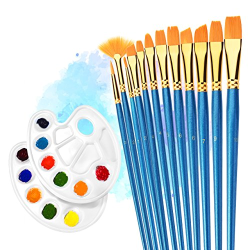 Artist Brush, ATMOKO 12 Pieces Paint Nylon Brushes Set with 2 Palettes for Watercolor, Acrylic & Oil Paintings