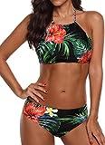PANOZON Trajes de baño de Las Mujeres Halter Beach Trajes de baño Bikini (3XL, 2Verde)