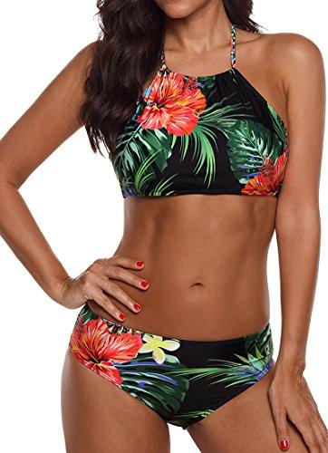 EUDOLAH Böhmische Neckholder Strand Bikini Set Trägerlos Beachwear Bademode (XXX-Large, Blumen und Blätter)